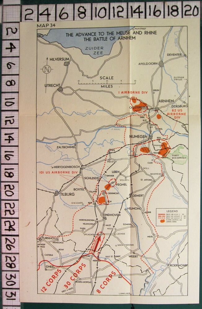 WW2 MAP THE BATTLE OF ARNHEM ADVANCE TO MEUSE RHINE US AIRBORNE