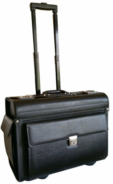 Faux Leather Pilot Case Business Travel Work Briefcase Trolley Doctor Laptop Bag