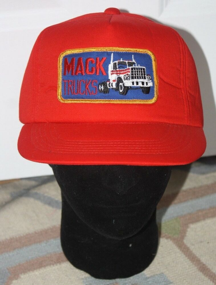 6565c3ce430 Details about Vintage Red Mack Trucks Snapback Padded Hat Cap Embroidered  Patch Big Rig Cotton