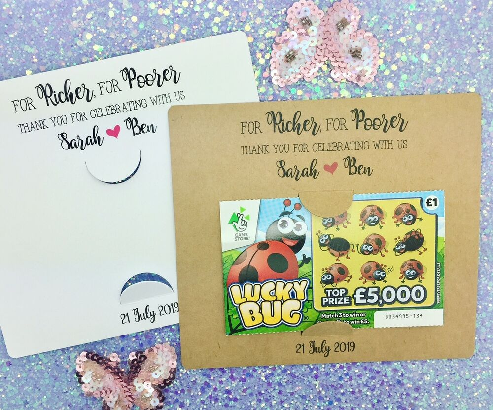 scratch card holders lottery ticket wedding favours for