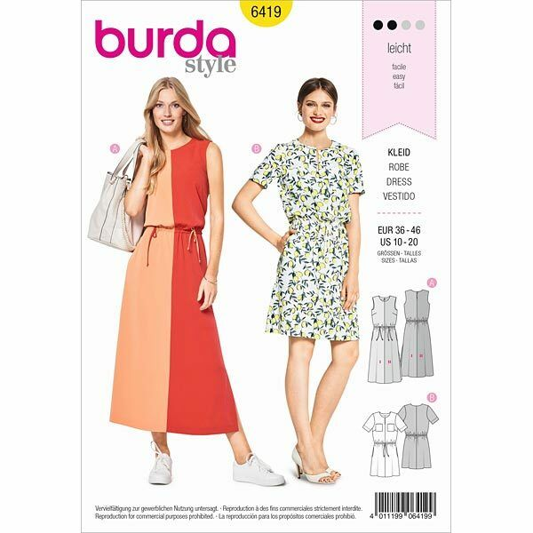 burda style Schnittmuster No 6419 Kleid – Colourblocking ...