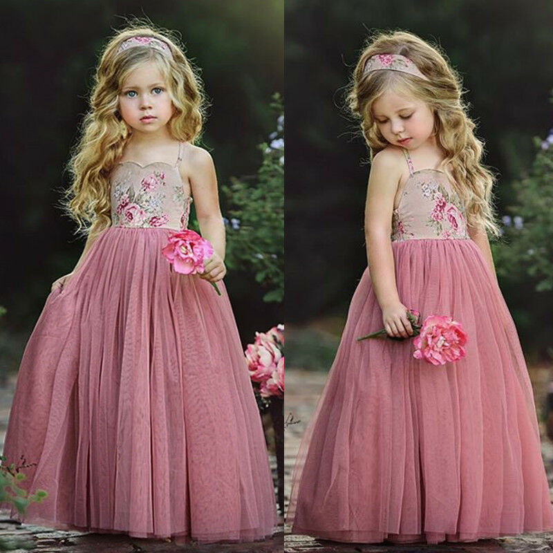 USA Long Princess Girls Dress Flower Solid Baby Lace Party