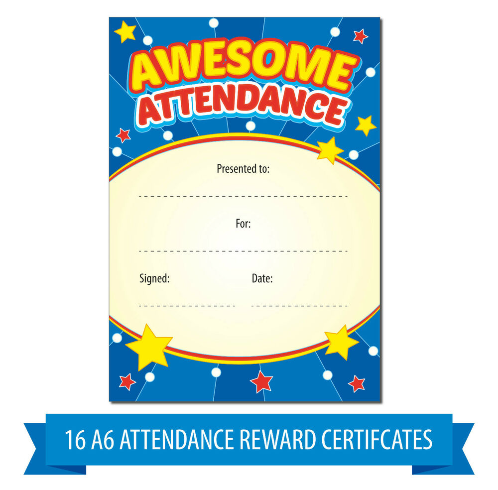 A6 awesome attendance reward certificates children kids teachers award fun ebay