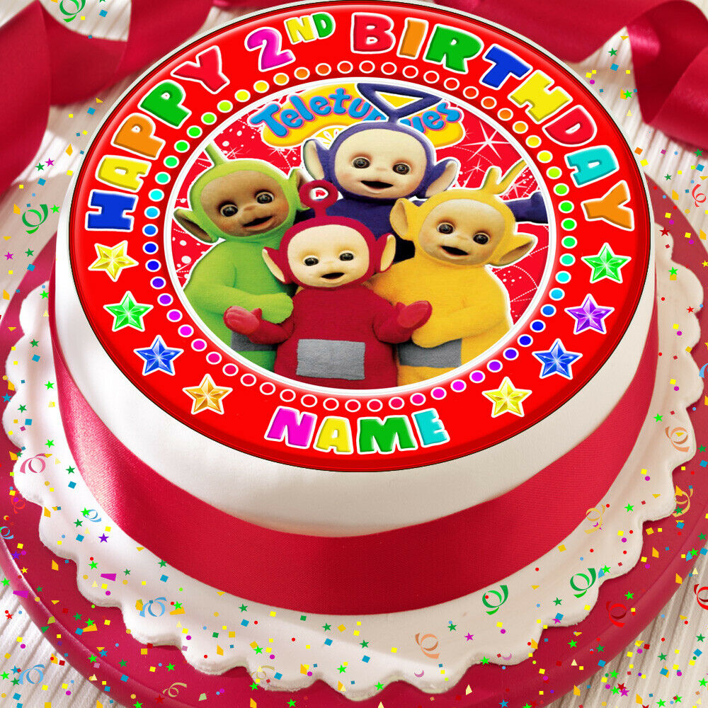 Details About TELETUBBIES HAPPY BIRTHDAY RED PERSONALISED 75 INCH PRECUT EDIBLE CAKE TOPPER