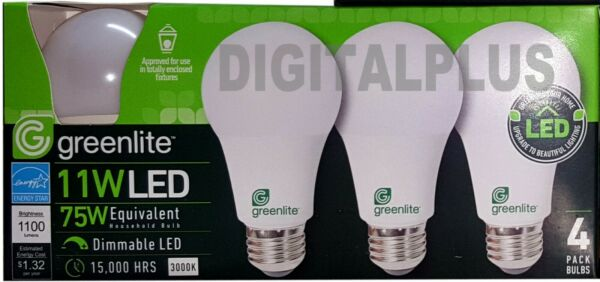 LED Light Bulbs GREENLITE 9W / 60W Equivalent Warm White 3000K A19 Dimmable !!