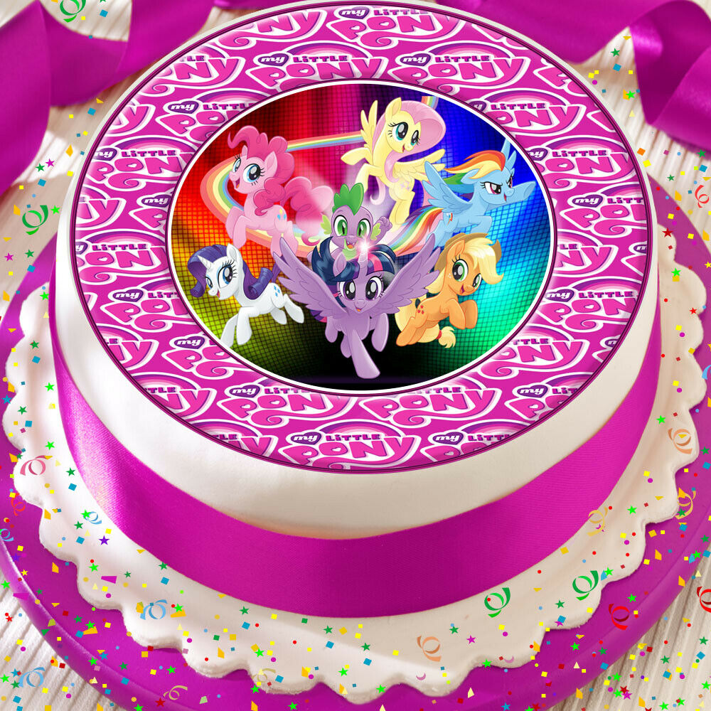 Details About MY LITTLE PONY CUTE LOGO BORDER PRECUT EDIBLE 75 INCH BIRTHDAY CAKE TOPPER