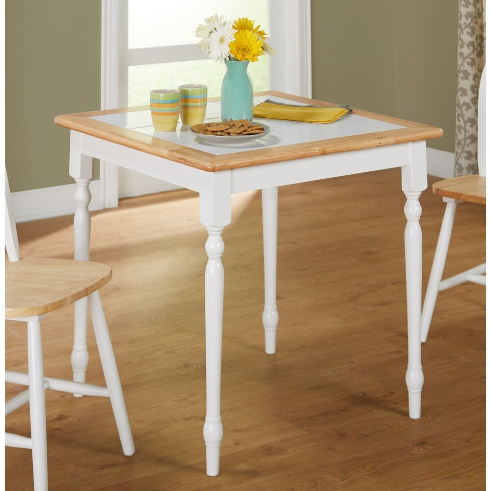 Country Style Dining Table Farmhouse White Dinette Solid Wood