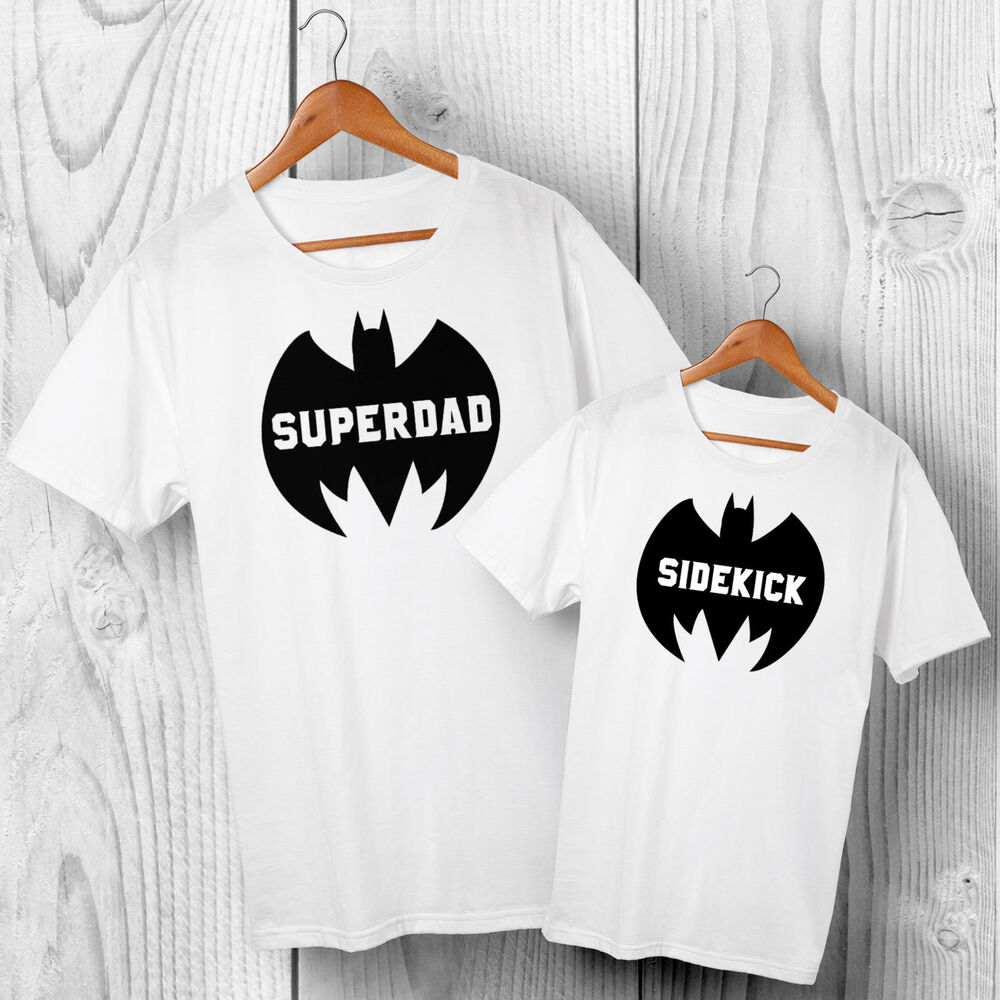 039c45b47 Details about Super Dad & Sidekick - Father & Son or Daughter Matching  T-shirts Set