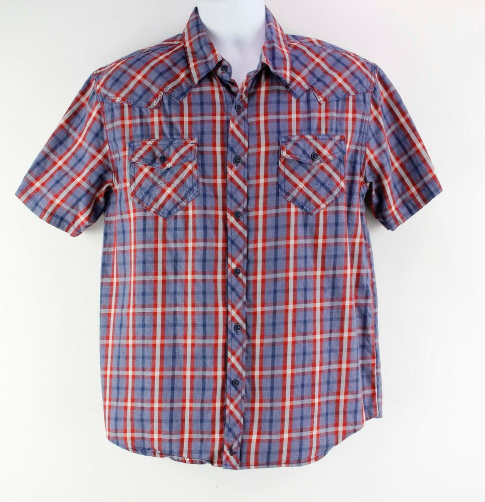 c85230a9fc Details about cody james cotton blue red white plaid short sleeve western  shirt jpg 966x1000 White