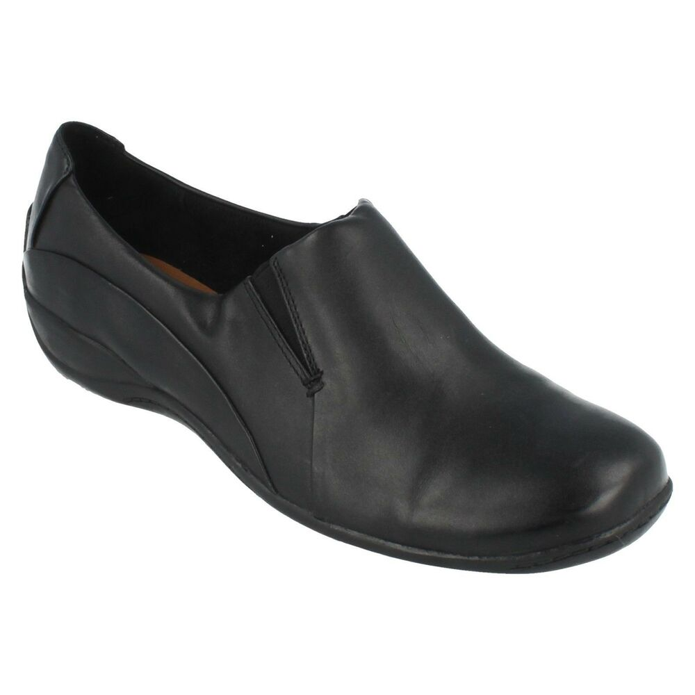 f2776236deaf Details about LADIES CLARKS BLACK LEATHER SLIP ON CASUAL FLAT SHOES PUMPS  SIZE COFFEE CAKE 4