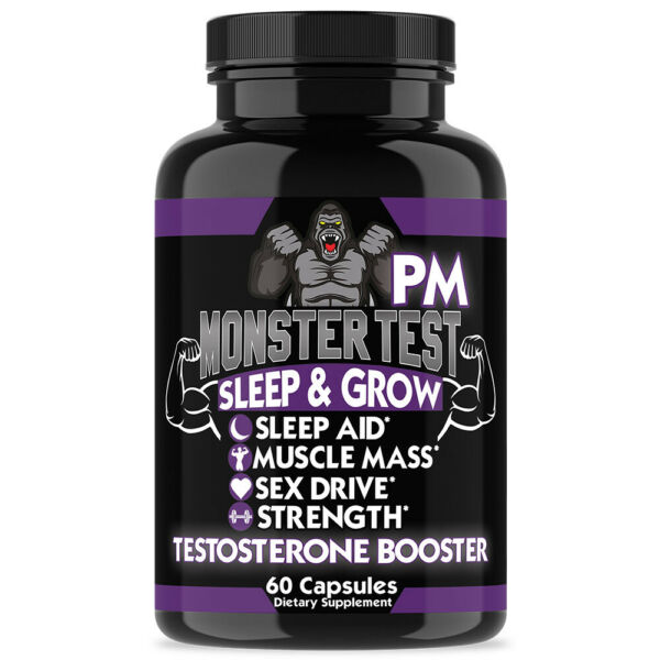 Angry Supplements MONSTER TEST PM Testosterone Booster Sleep Aid Pill 60ct/Botte