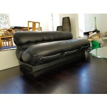 Style of Tobia Scarpa mid century modern black leather sofa couch Leather Italia