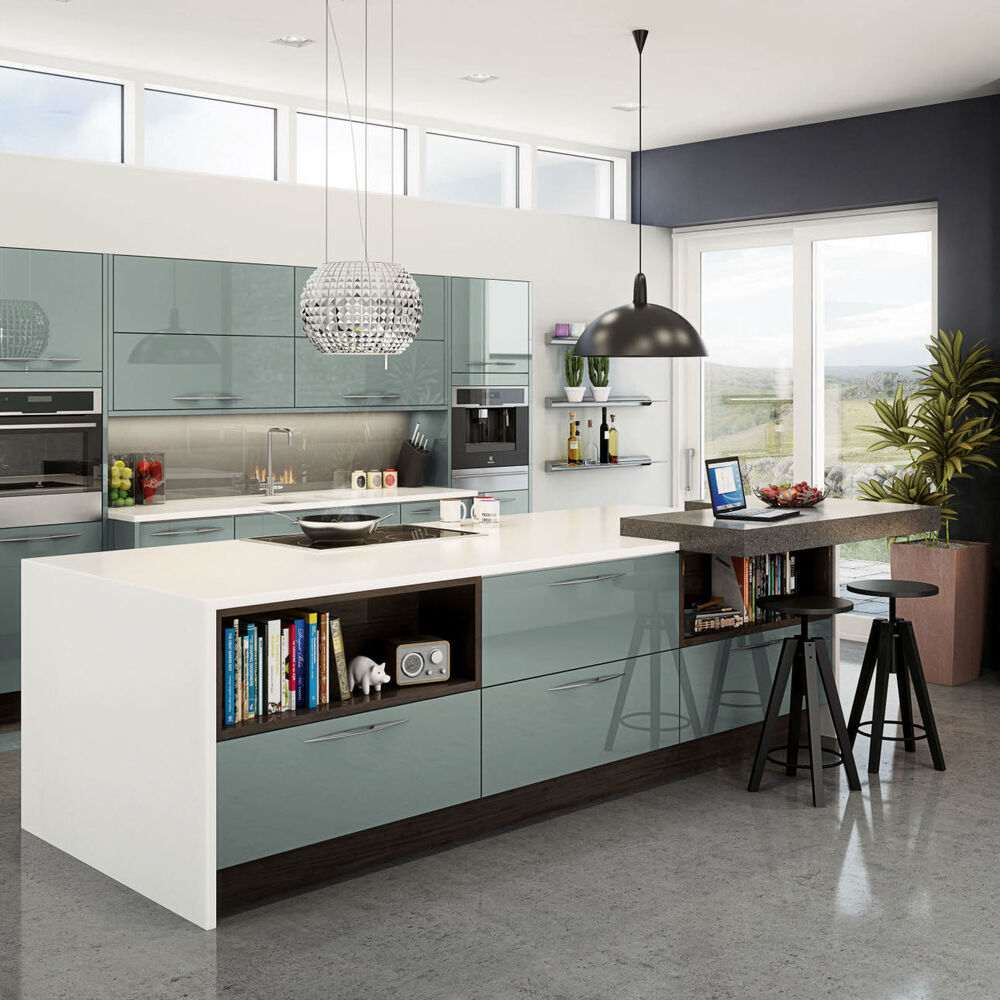 Blue Kitchen Cabinets Units: Magnet Astral Blue Acrylic Kitchen Cabinet Doors, End Panels And Frontals