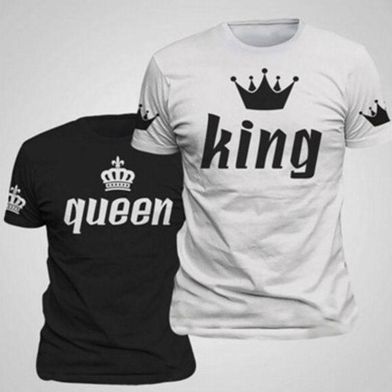 a9e9f3f9ab14 2018 Couple T-Shirt Crown King And Queen Love Matching Summer Unisex Tee  Tops