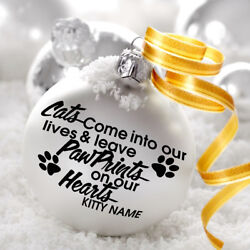 Cats Come Into Our Lives Decal Sticker For Bauble Decoration Xmas Pet Quote Paw