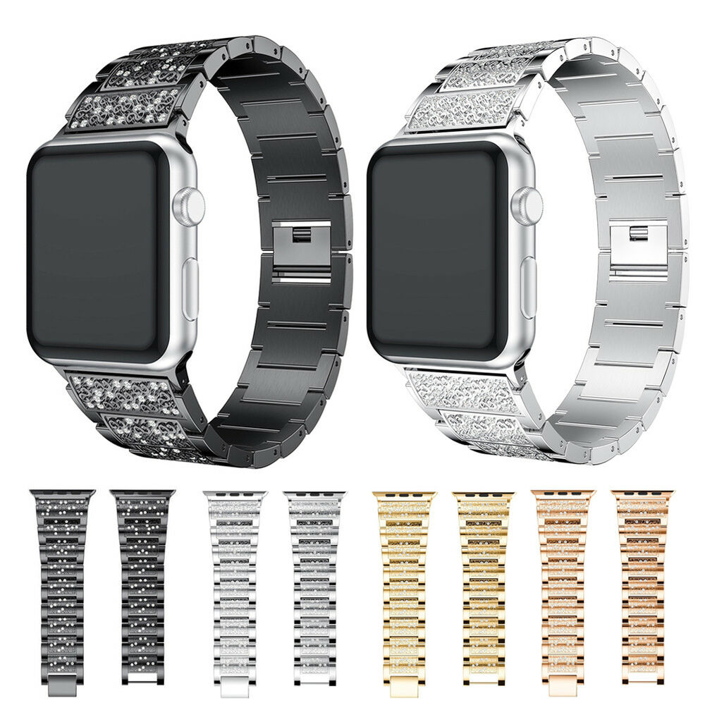 Rhinestone Stainless Steel Strap Metal Band For Apple