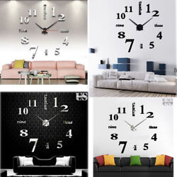 Kyпить Modern DIY Large Wall Clock 3D Mirror Surface Sticker Home Decor Art Design New на еВаy.соm