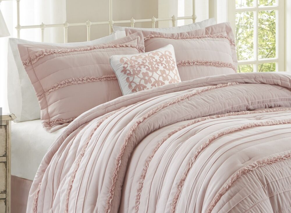 dusty pink comforter set california king size 5 pc bed skirt accent pillow shams 603981630473 ebay. Black Bedroom Furniture Sets. Home Design Ideas