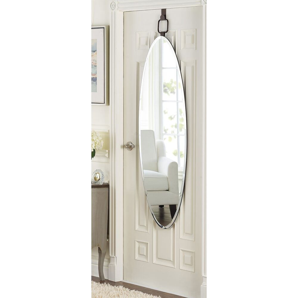 Bon Details About Over The Door Mirror Oval Bronze Beveled Glass Classic Wall  Mount Dressing Room