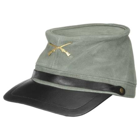 img-Country Western Biker Leather Cap Southern States Hat - Csa Gerneral Lee - Grey