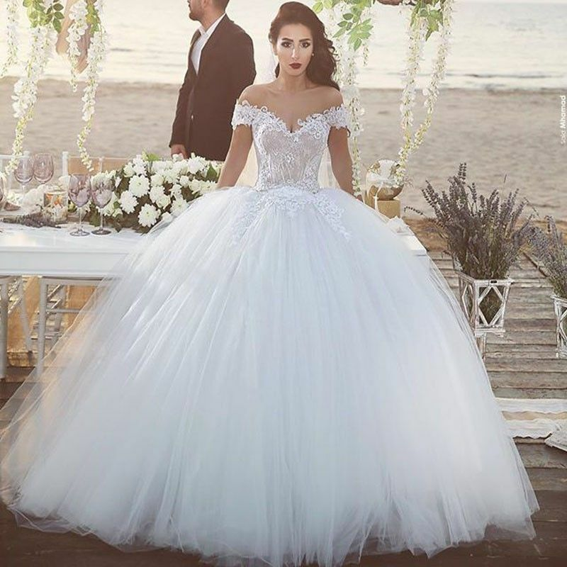 Luxury Off Shoulder Ball Gown Lace Tulle Wedding Dress White Bridal ...