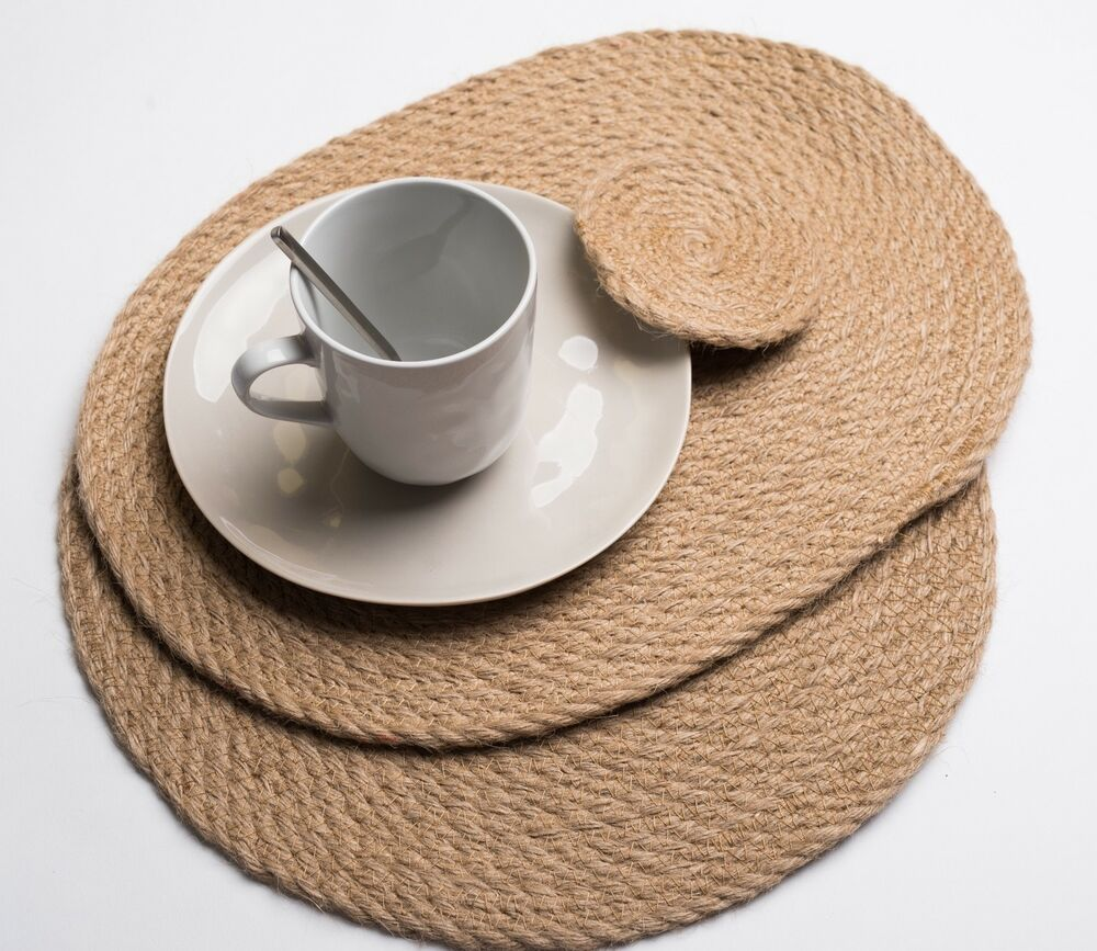 Brand New Hand Woven Round Oval Natural Rattan Placemats Coasters