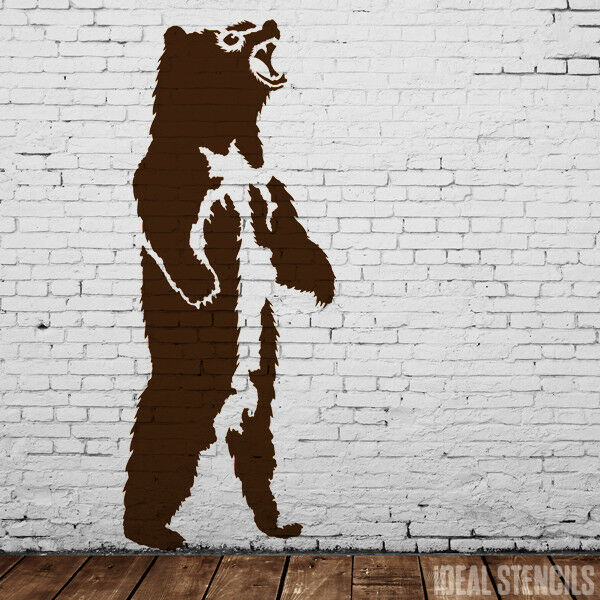 Oso grizzly Estarcido casa pared Decoración Pintura XS - TAMAÑO ...