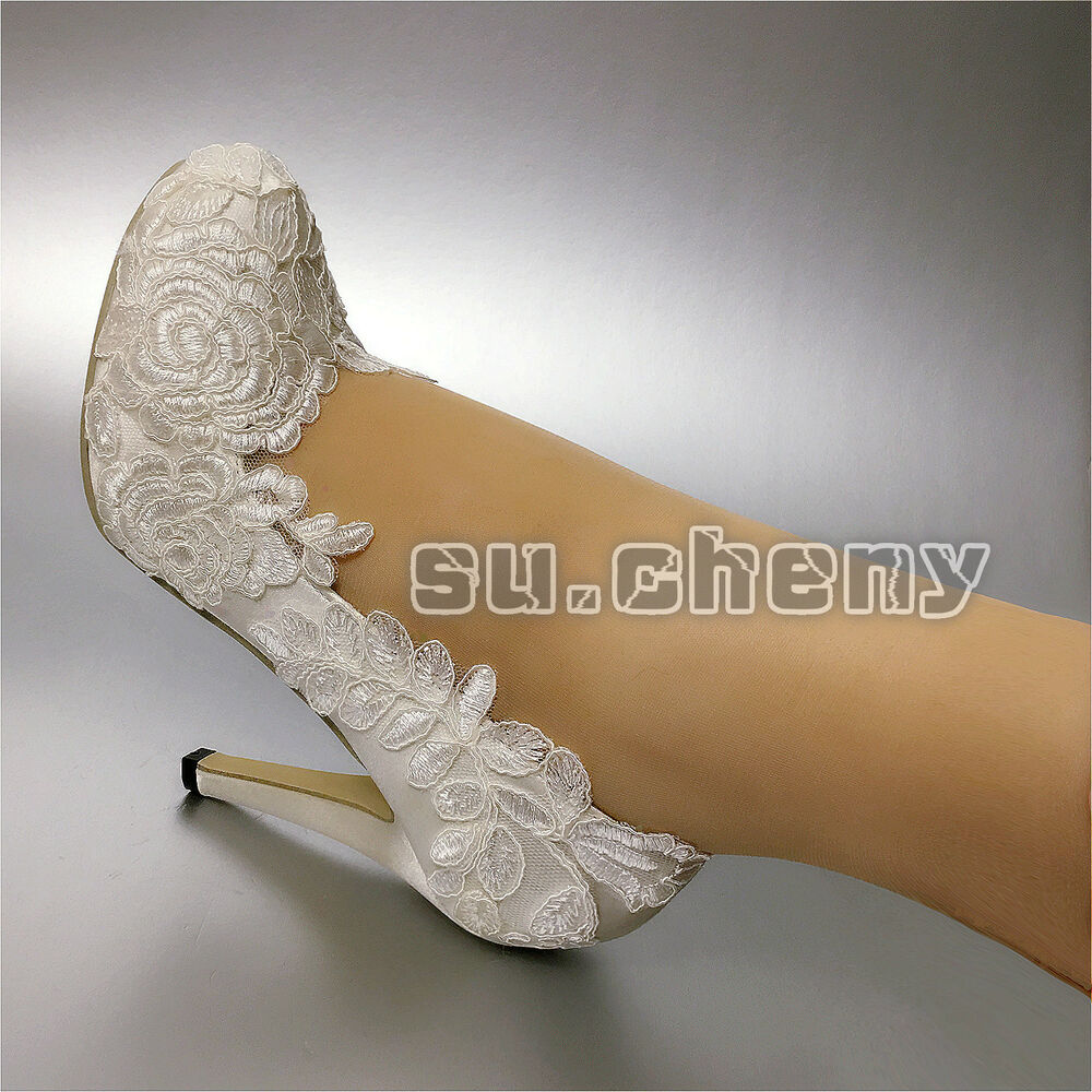 "262891bf8e3 Details about su.cheny 3"" 4"" heels white ivory silk lace Closed toe pumps  Wedding Bridal shoes"