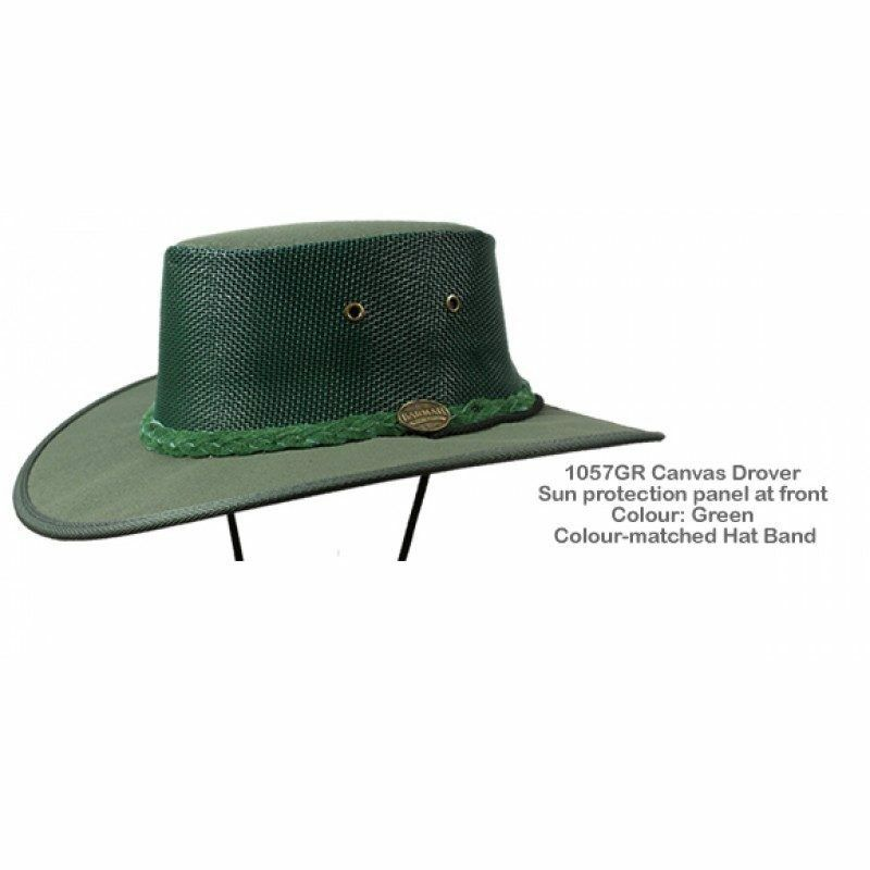 db51d29db11 Details about Barmah 1057 GR Green Canvas Drover Airflow Hat