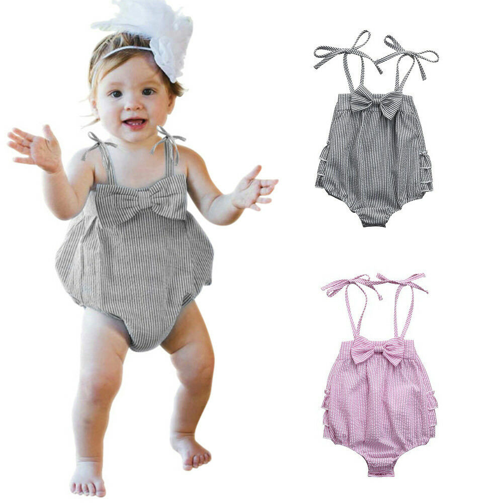c6885cad4d4 Details about Lovely Baby Girls Striped Seersucker Bubbles Straps Ruffle  Layers Bowknot Romper