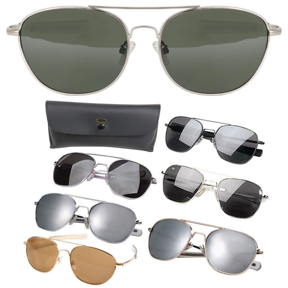 Details about Aviator US Air Force Style Pilot Sunglasses Military Army  Frames Lenses   Case ab8e56e552a