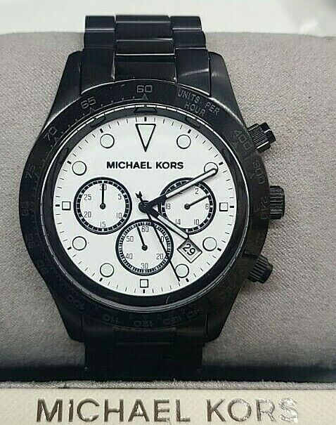 177868e266b5 Details about Michael Kors Layton Chronograph White Dial Black Ion-plated Mens  Watch MK6083