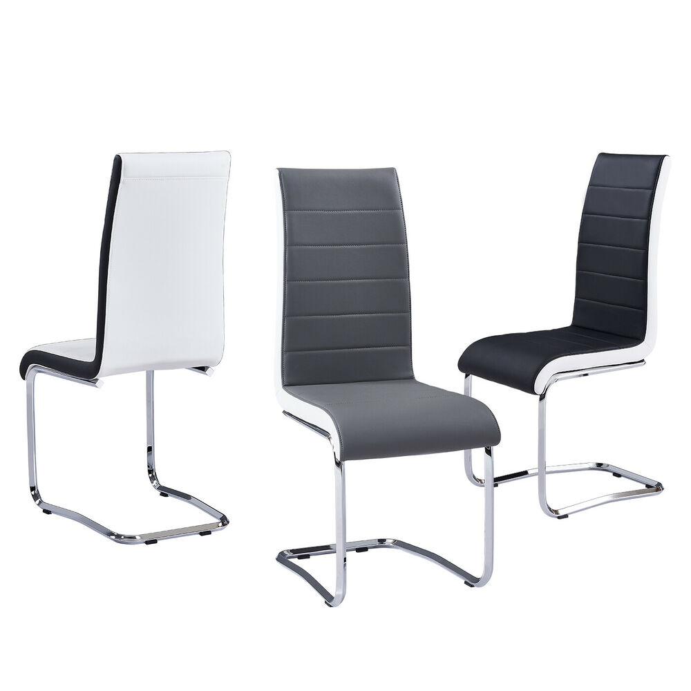 Black And White Dining Chair: 2 4 6 Dining Chairs Black White Grey Faux Leather Chrome