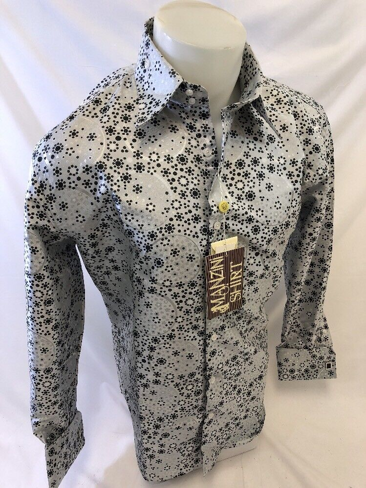 mens manzini button down dress shirt white floral paisley