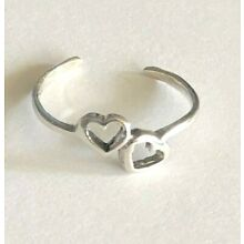 925 Sterling Silver Toe Ring Loving Hearts~$6.29 ALL Sterling Silver~Adjustable
