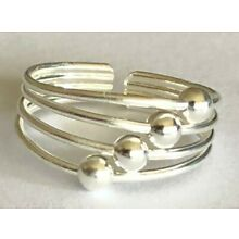 .925 Sterling Silver Toe Ring ~ 4 Floating Beads ~ $8.79 ALL Sterling Silver