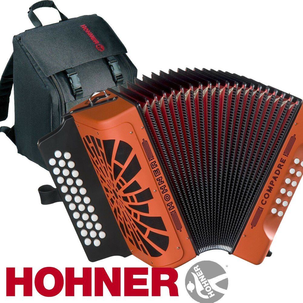 hohner compadre fbe fa 31 button diatonic accordion orange with bag straps ebay. Black Bedroom Furniture Sets. Home Design Ideas