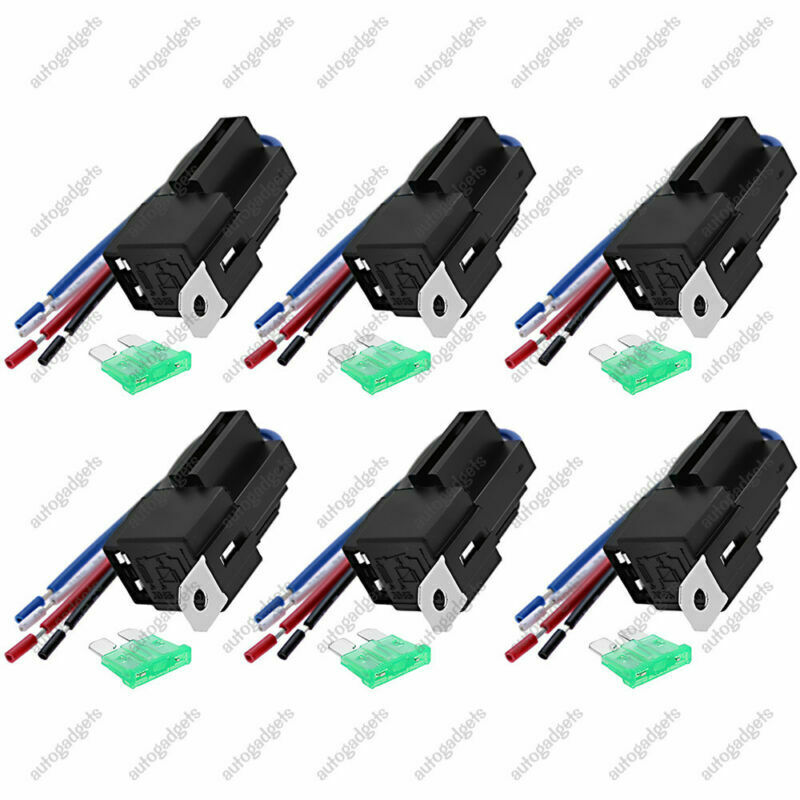 s l1000 6 pack 12v 30a fuse relay switch harness set spst 4 pin 14 awg hot