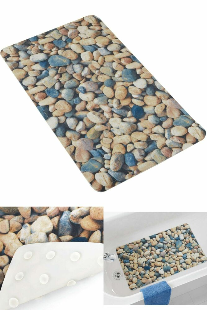 Bath Mat Shower Bathtub Non Slip Anti Slips Bathroom Rug Rubber Tub Safe Stones 785603639863 Ebay