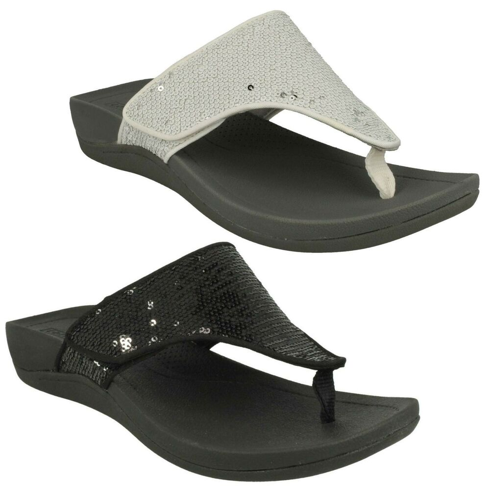 79ea990bbee530 Details about LADIES CLARKS TOE POST SEQUINED FLIP FLOP CASUAL SANDALS  SHOES SIZE PICAL LIPSON