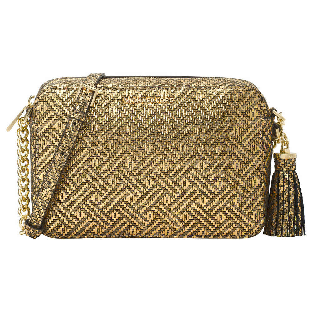 bd3a1297ce98 Details about NWT Michael Kors Ginny Medium MD Leather CrossBody Camera Bag  Gold