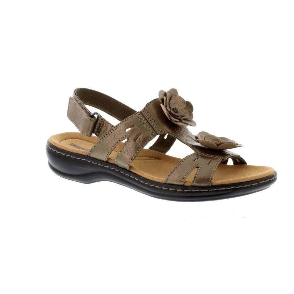13d48cf897e Details about Clarks Womens Leisa Claytin Pewter Leather T Bar Floral Trim  Slingback Sandals
