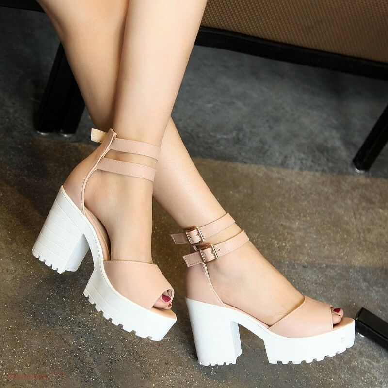 e061357f3d2 Details about Women s Fashion Open Toe Block Chunky High Heels Platform  Shoes Sandals Chic A35