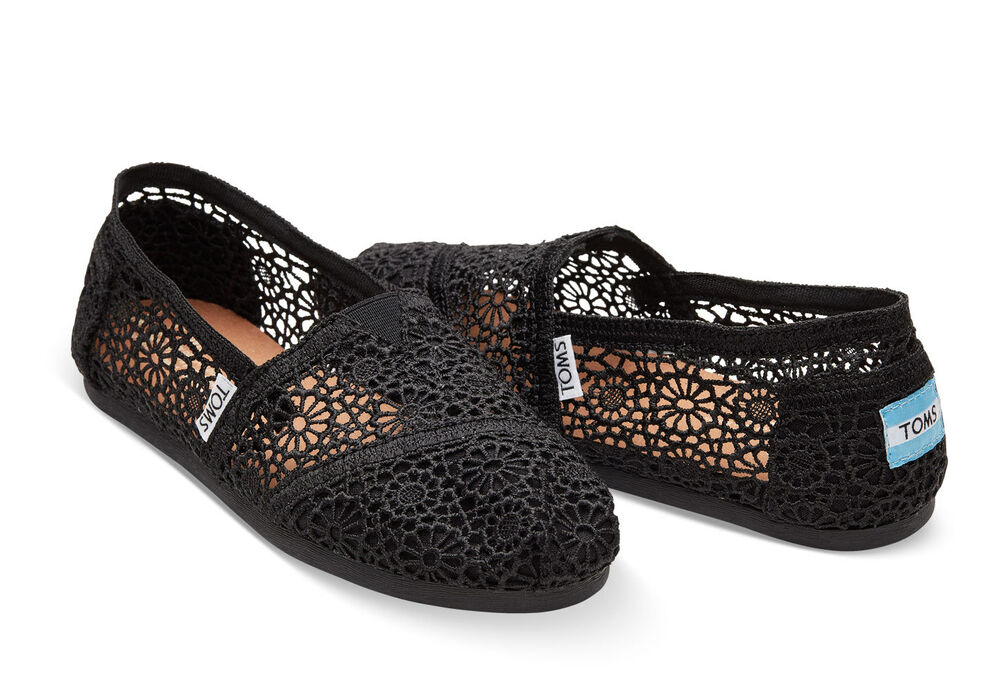 Toms Crochet Shoes Black