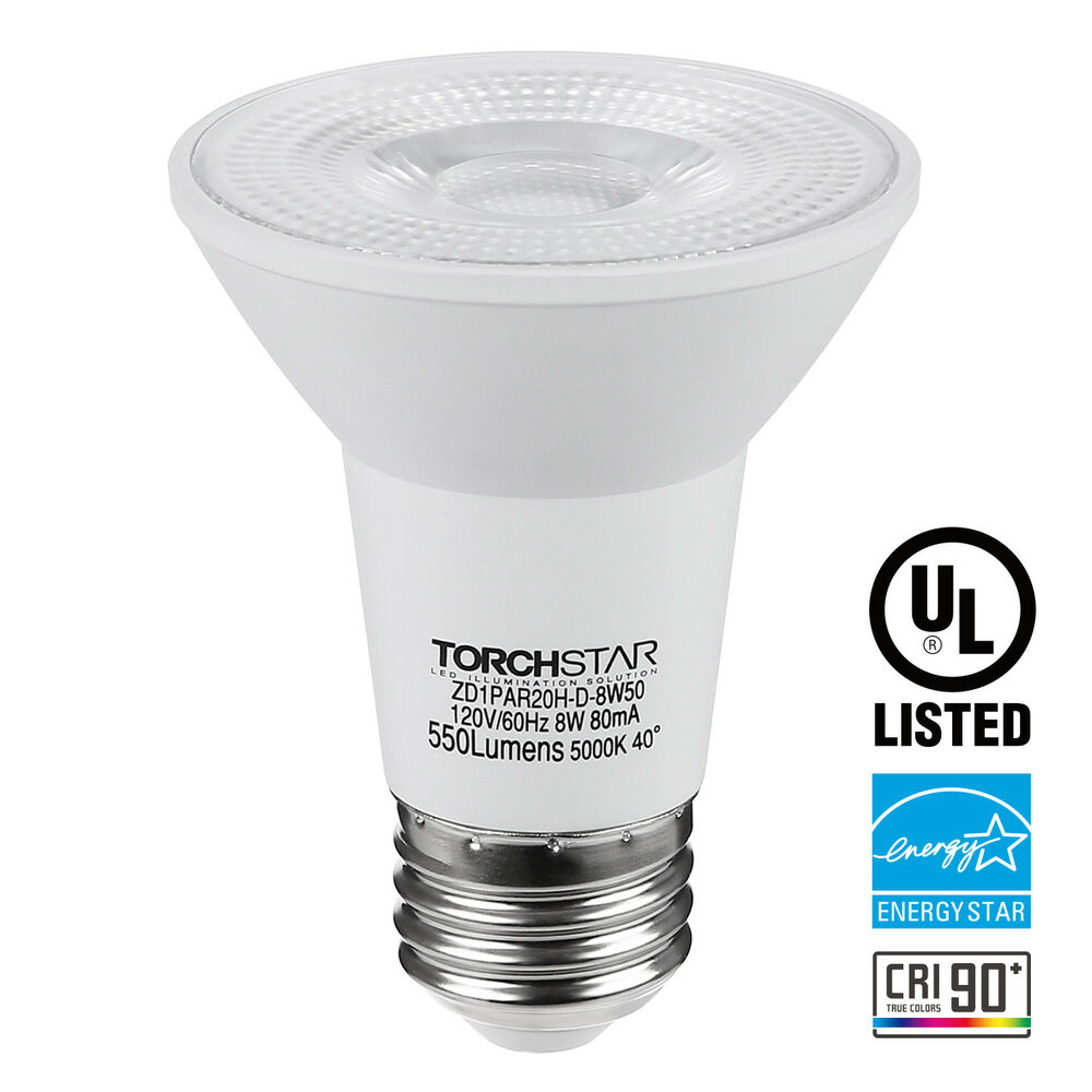 50w Equiv: Dimmable LED PAR20 Light Bulb, 8W (50W Equiv.) Spotlight
