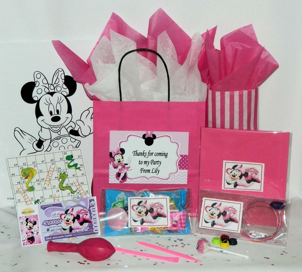MINNIE MOUSE PRE FILLED PARTY BAG GIFT BAGS PERSONALISED PINK ...