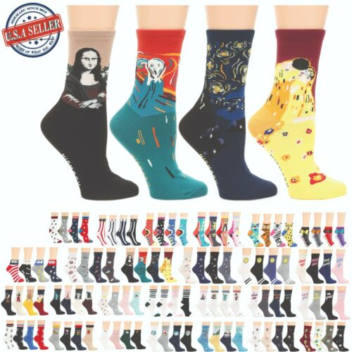 MIRMARU Women's 4 Pairs Animal Cute Funny Novelty Casual Cotton Crew Socks.