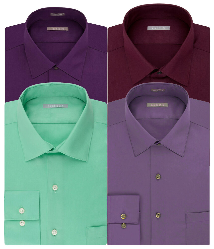 1ce167dab46fd Details about New Van Heusen Men s Athletic-Fit Lux Sateen Spread-Collar  Dress Shirt MSRP  45
