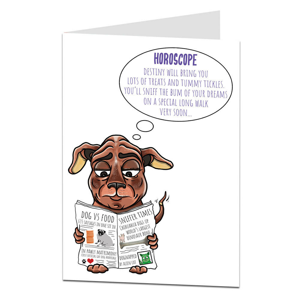 Details About Funny Happy Birthday Card Dog Pet Theme Horoscope For Men Women Owner Lover