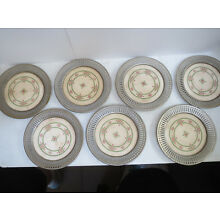 SET OF 7 CERAMIC AND SILVER PLATE VINTAGE DRINK COASTERS